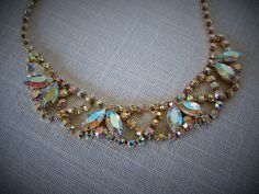 RHINESTONE CHOKER NECKLACE  Aurora Borealis Gold Tone Collectible Vintage Costume Jewelry on Etsy $42.99  by pegi16