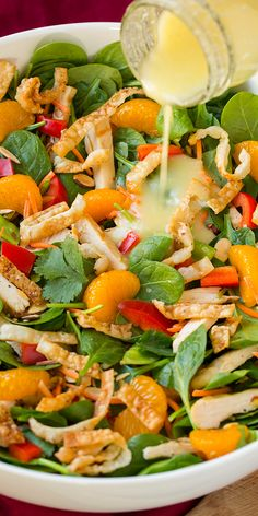 Mandarine Orange Spinach Salad with Chicken and Lemon Honey Ginger Dressing - this is one of my FAVORITE salads! I love everything about it.