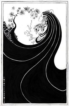 An ink poster in the style of Aubrey Beardsley, inspired by the novel Perfume: The Story of a Murderer.  - Steve Huntington