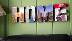 Wooden letters covered with photos of landmarks from your hometown