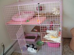 A bunny cage. This is a great size for bunnys Just needs some more chew toys and a big tunnel . Diy Bunny Cage, Bunny Cages, Rabbit Cages, Hamsters, Gerbil, Rodents, Cage Chinchilla, Bunny Room, Indoor Rabbit