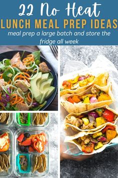 22 cold lunch ideas that you can meal prep ahead of time! These recipes are perfect for when you don't have access to a microwave. Browse through the salads, bowls, bento boxes, wraps and pitas! No Heat Lunch, Cold Lunches, Lunch Meal Prep, Bento Box, Prepping, Salads, Meals, Canning, Lunch Ideas