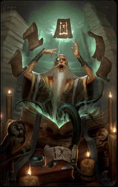 Crazy mage casting a spell while his owl wigs out in the corner. Cliche since the dude is a dude, old and white with a long white beard, but it's fun and beautiful artwork anyway. MajorArcana IX by ArtofTy on deviantART Dungeons And Dragons, Fantasy Characters, Fantasy Artwork, Illustration, Fantasy Art, Art, Fantasy Wizard, Medieval Fantasy, Fantasy Inspiration