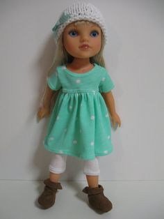 Hearts 4 Hearts Doll Clothes Dots Mint/White by 123MULBERRYSTREET, $26.00
