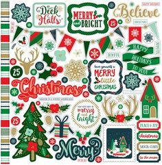 Echo Park 12x12 Cardstock Stickers - Deck the Halls - Elements