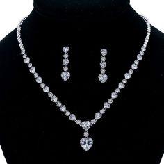 Heart Love Aaa Cubic Zircon Necklace Earring Set Bridal Wedding Jewelry Set 0083