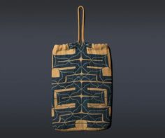 """Japanese Ainu Attush Bag Hokkaido, Japan 19th century Attush (inner bark from an elm tree) with cotton appliqué and embroidery The length of the textile (excluding the handle) is 18"""". The width is 12 1/2""""."""
