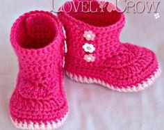 Booties Crochet Pattern Boots for BABY GARDEN BOOTS digital