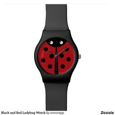 Black and Red Ladybug Watch. Regalos, Gifts. #reloj #watch #DiaDeLasMadres #MothersDay