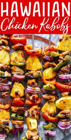 Pineapple Teriyaki Chicken Skewers These Grilled Hawaiian Chicken Kabobs are a tropical twist on teriyaki chicken. A citrusy pineapple teriyaki sauce coats these chicken and vegetable skewers, perfect for weeknight grilling or weekend cookouts Pineapple Chicken Kabobs, Teriyaki Chicken Skewers, Teriyaki Sauce, Chicken Kabob Marinade, Kabob Recipes, Healthy Recipes, Grilling Recipes, Vegetarian Grilling, Healthy Grilling