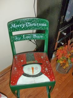Red and green festive Snowman school chair.
