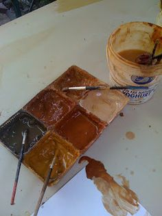 Painting with mud- where ever u go u can always make this. And never have to carry around paint