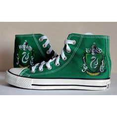 """Converse shoes with painting """"Slytherin"""" ($75) ❤ liked on Polyvore featuring shoes, converse shoes and converse footwear"""