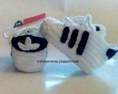 Crochet Babyschuhe Simulation Adidas Superstar kundengerecht mit Sicherheit. Gehäkelte Babyschuhe . Adidas Booties. Sport Booties