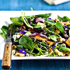 Baby Spinach & Violet Salad.  I used to love trying to find way to use unique things like flowers in my cooking.  Perhaps it's time to rediscover this type of cooking...