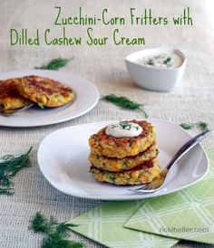Zucchini-Corn Fritters with Dilled Cashew Sour Cream --perfect way to use up some of that zucchini in a vegan, gluten-free fritter!