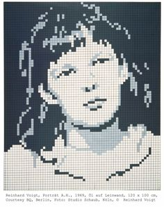 """Reinhard Voigt, Porträt A.H., 1969    Pixel art before pixel art - part of a current German exhibition at the Kunstmuseum entitled """"Rasterfahndung"""" exploring the importance of the grid in contemporary art.    More about the exhibition (in German) here"""