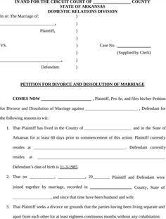 Arkansas Divorce Petition Form