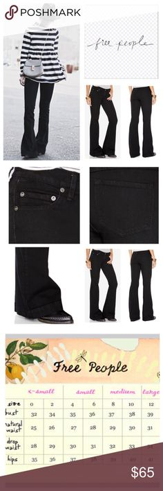 """Free People Black Stretchy Flared Jeans.  NWT. Free People Black Gummy Denim Stretchy Flared Jeans, 53% cotton, 23% rayon, 22% polyester, 2% spandex, machine washable, 27"""" waist, 8.75"""" front rise, 13"""" back rise, 33"""" inseam, 22"""" leg opening all around, soft and stretchy denim, five pockets, belt loops, zip fly button front closure, measurements are approx.  NO TRADES Free People Jeans Flare & Wide Leg"""