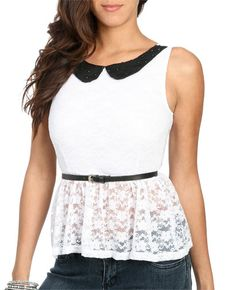 Peter Pan Collar Lace Top : http://www.wetseal.com/catalog/product.jsp?categoryId=111=213=60114