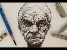 Pen and Ink Drawing Tutorials | Realistic Portrait Drawing Demonstration