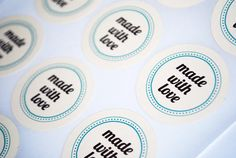 "Made With Love Stickers Seals - Envelope Seals or Stickers - 48 Count 1.5"" Diameter. $6.25, via Etsy."