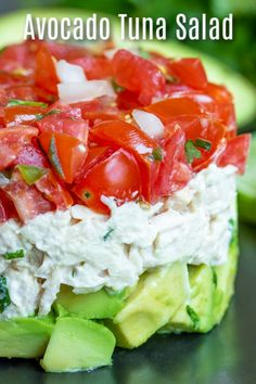Avocado Tuna Salad Recipe - Low-carb FoodsThis healthy Avocado Tuna Salad recipe is a keto and low carb lunch or dinner recipe made with creamy tuna and mayonnaise, cilantro, tomatoes, and fresh avocado. It's one of my favorite avocado recipes! Avocado Recipes, Healthy Salad Recipes, Diet Recipes, Healthy Snacks, Healthy Eating, Cooking Recipes, Low Carb Recipes, Cilantro Recipes, Dinner Healthy