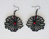 Limited edition designer earrings, original design, handmade, black, laser cut wood, Swarovski crystals, surgical steel, polymer clay