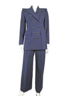 1fd5d6c3890 Yves Saint Laurent 1980s navy pinstripe suit. Navy Pinstripe Suit, Rive  Gauche, Women's