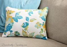 pillow, dish towel, spring, fabric, floral, tutorial, sewing