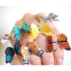 PICK 2 Butterfly Rings ($42) ❤ liked on Polyvore featuring jewelry, rings, butterfly jewelry, butterfly ring and monarch butterfly jewelry