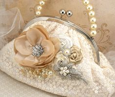 Bridal Clutch Vintage Inspired Purse in Cream by SolBijou on Etsy, $180.00