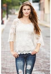 CROCHET AND LACE BELL SLEEVE TOP... not my usual, but I'd like to try it on