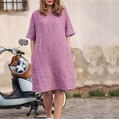 Plus Size Solid Color Loose Dresses – jullymart Comfy Dresses, Trendy Dresses, Loose Dresses, Comfy Clothes, Midi Dresses, Evening Dresses Plus Size, Plus Size Dresses, Elegant Maxi Dress, Vacation Dresses
