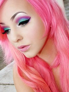 pretty eye makeup | pretty colorful eye makeup, pink purple and turquoise - The Beauty ...