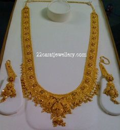 Gold Bridal Long Chains Credit Goes to Bindhu - Jewellery Designs