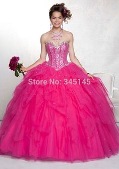 New Fashion Hot Pink Quinceanera Dresses Sweetheart Beaded Princess Ball Gown Long Tulle