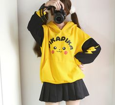 Hoodie Pikachu Hoodie Kawaii Pikachu Hoodie ●Size:S length length M length length ●Color:Yellow ●Material:Cotton ●Process time: business days●Shipping time: business days to United States, weeks to other co Outfits Clueless, Anime Outfits, Cool Outfits, Casual Outfits, Grunge Outfits, Harajuku Fashion, Kawaii Fashion, Cute Fashion, Fashion Outfits