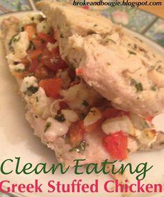 Clean Eats! Greek Stuffed Chicken. Delicious clean eating dinner recipe