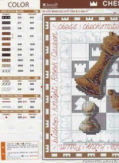 chess pieces part color key Ribbon Embroidery, Cross Stitch Embroidery, Embroidery Patterns, Cross Stitch Patterns, Cross Stitch Games, Just Cross Stitch, Cross Stitch Pillow, Damier, Le Point