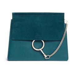 Chloé 'Faye' medium suede flap leather shoulder bag (114.495 RUB) ❤ liked on Polyvore featuring bags, handbags, shoulder bags, accessories, bolsa, green, suede shoulder bag, green leather purse, blue suede purse and chloe handbags
