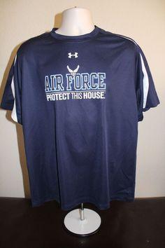 under armour men fitness heat gear shirt (L) blue short sleeve polyester EUC  #UnderArmour