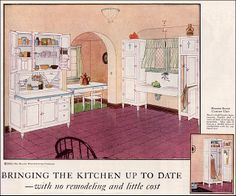 1924 Hoosier Kitchen Cabinet Ad kitchens made from hoosier cabinets Vintage Room, Vintage Decor, Vintage Designs, Vintage Ads, Vintage Houses, Vintage Advertisements, 1920s Kitchen, Vintage Kitchen, Diner Kitchen