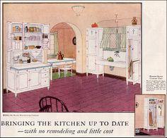 1924 Hoosier Kitchen Cabinet Ad kitchens made from hoosier cabinets Vintage Room, Vintage Decor, Vintage Designs, Vintage Ads, Vintage Houses, Vintage Advertisements, Vintage Furniture, 1920s Kitchen, Vintage Kitchen
