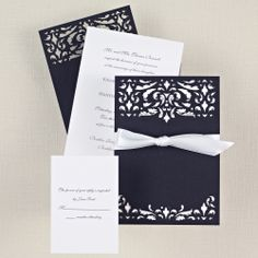 Midnight Romance Wedding Invitation | Laser cut details, black and white, satin bow | #exclusivelyweddings