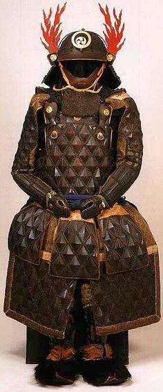 Tatami gusoku, or Japanese folding armor. Samurai Helmet, Samurai Weapons, Samurai Armor, Arm Armor, Body Armor, Geisha, Armadura Medieval, Japanese Warrior, Japanese Sword