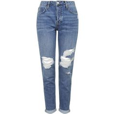 TOPSHOP PETITE Ripped Hayden Jeans found on Polyvore featuring jeans, pants, bottoms, calças, jeans/pants, mid stone, petite, blue jeans, torn boyfriend jeans and topshop jeans