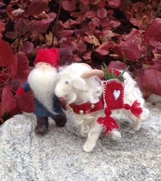 Yule Goat and Tomten Small Waldorf Dolls by SunflowerDolls on Etsy