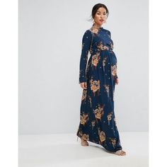 Buy ASOS Maternity PETITE Maxi Dress with Long Sleeve in Chinoiserie Print at ASOS. Get the latest trends with ASOS now. Maternity Maxi, Stylish Maternity, Maternity Fashion, Modest Fashion, Latest Fashion Clothes, Maternity Style, Fashion Online, Mode Simple, Pregnancy Outfits