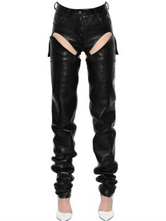 Y PROJECT - CUTOUT TRANSFORMER LEATHER PANTS - PANTS - BLACK - LUISAVIAROMA